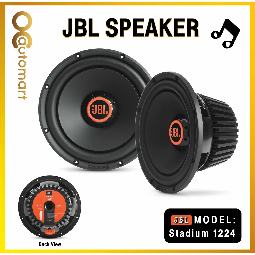 """JBL Stadium 1224 12"""" component subwoofer with switchable 2- or 4-ohm impedance"""