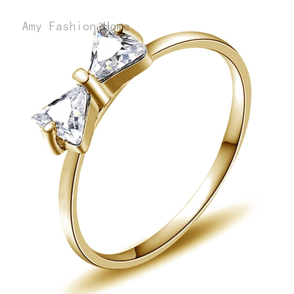 AmyJewelry Women Wedding Rings Gold Plating Hollow Love Heart Cubic Zirconia Titanium Ring
