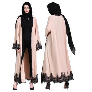 Muslim Robes Single Breasted Contrast Lace Dress Kebaya Kurung Jubah