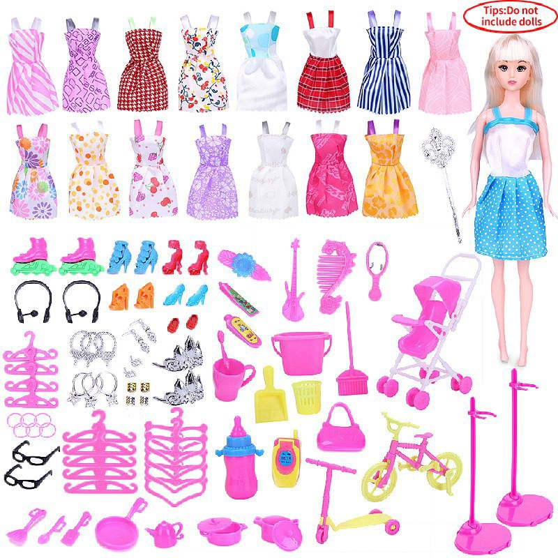 Barbie Doll Clothes Set Dress Up Accessories Toys Children Play House Gift Box