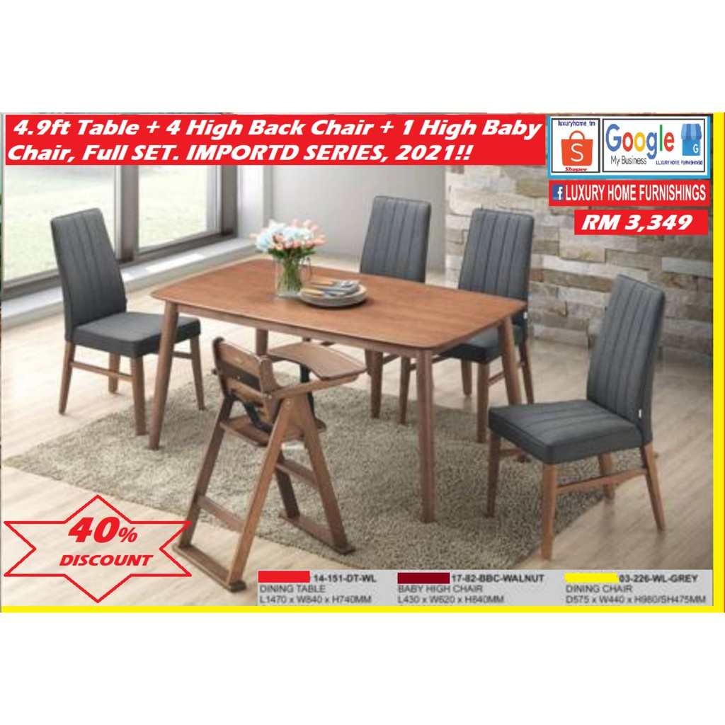 4.9ft DINNING TABLE + 4 MODERN CUSHION CHAIRS WITH ARM RESTS +  BABY CHAIR,  FULL SET, 1 +6, IMPORTED DESIGNER SERIES
