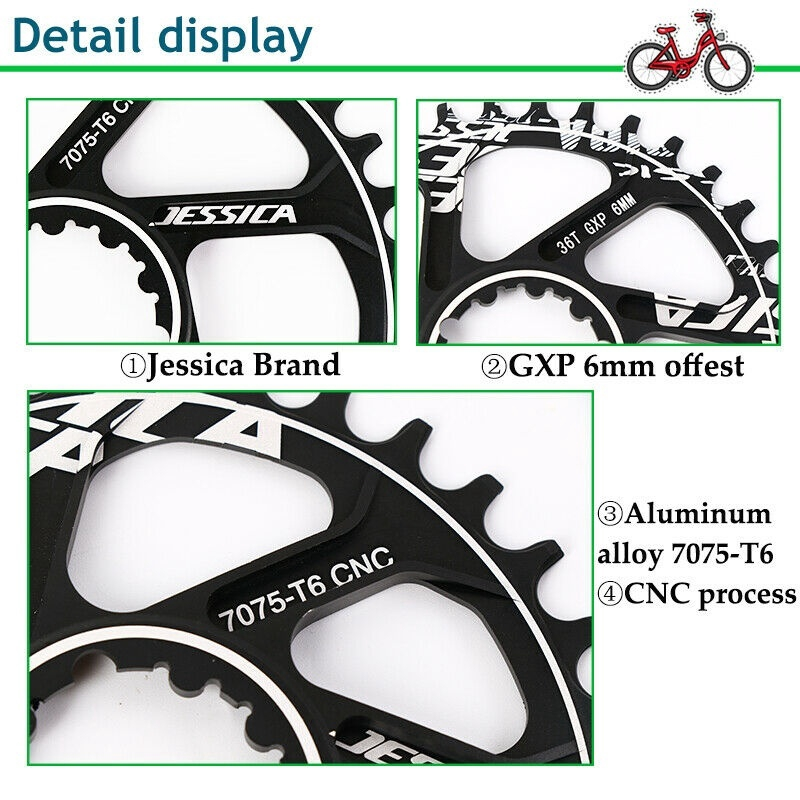 JESSICA GXP 170mm Crankset 32-38T MTB Road Bike Chainring Crank Bottom Bracket