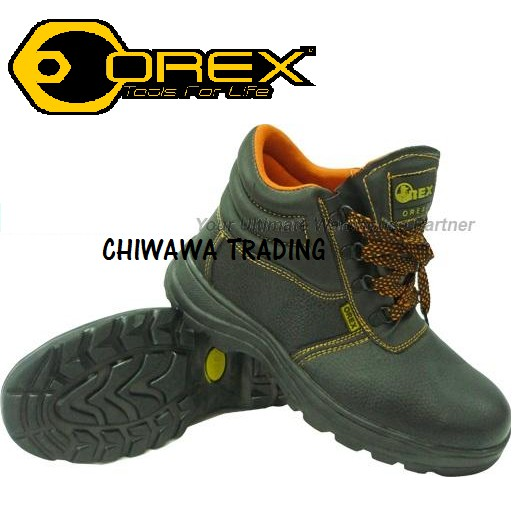 OREX #600 MID-CUT SAFETY SHOES WITH STEEL TOE CAP AND MID SOLE Kasut (Black)