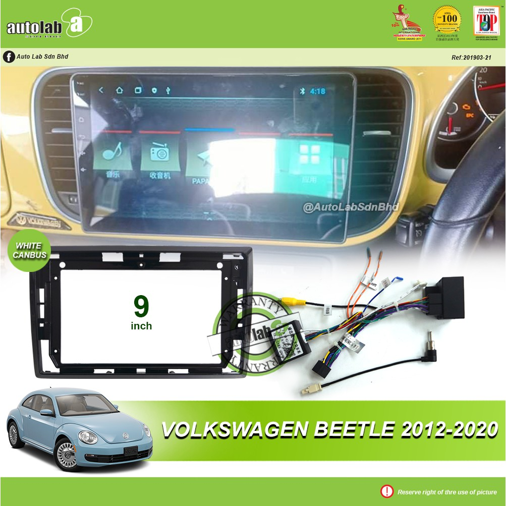 """Android Player Casing 9"""" Volkswagen Beetle 2012-2020 (with Socket VW & VW Canbus Module + Antenna Join )"""