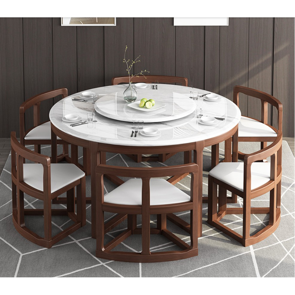 Marble Multi Functional Round Table Living Room Solid Wood Dining Table 6 Seater Small Family Dining Table Shopee Malaysia