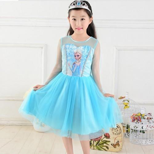 6c1627bfa Frozen Elsa Girl Blue Silver Trim Kids Dress Costume  FREE TIARA ...
