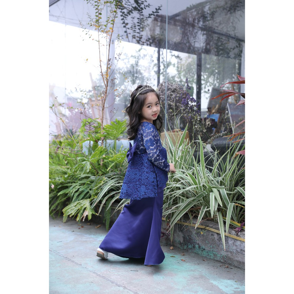 Mylilangelz KC2536 Cool Elves Baju Kurung - Wavy Peplum Lace (Navy) (READY STOCK)