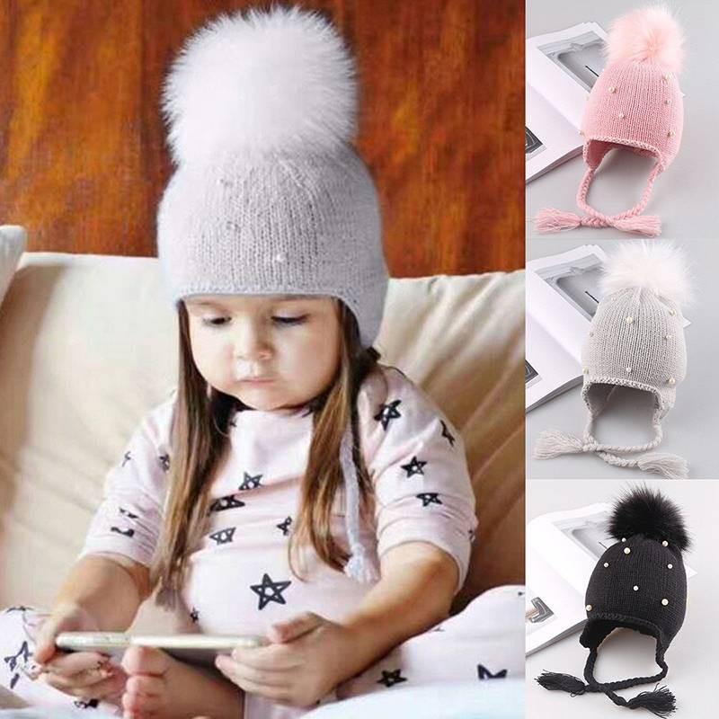 c50e91e4df851d ProductImage. ProductImage. Cute Toddler Kids Girls Baby Infant Winter Warm  Crochet Knit Hat Beanie ...