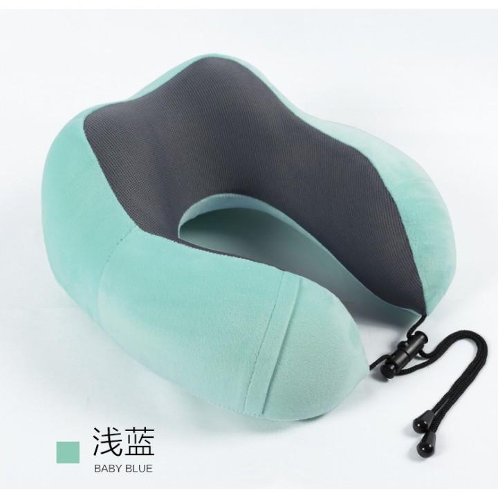 blue Soft Velour Memory Foam Comfort Neck Support Car Home Plane Cushion Pillow