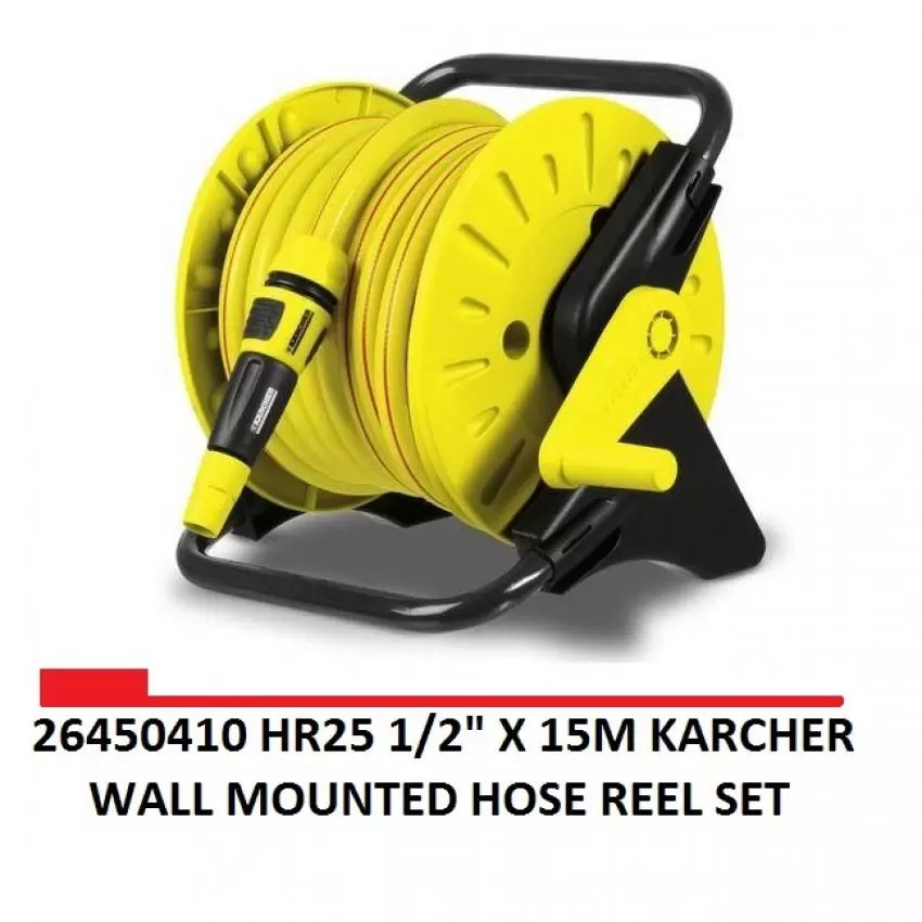 26450410 HR25 1/2' X 15M KARCHER WALL MOUNTED HOSE REEL SET Garden Hose  Watering