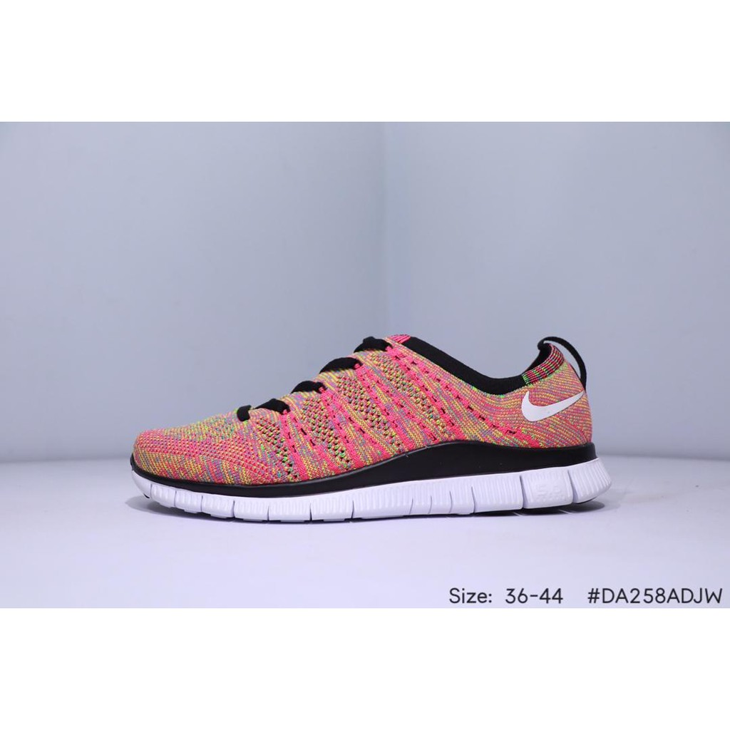 buy online 4e853 d04f1 NIKE Free Flyknit 5.0 Pink woven breathable mesh soft bottom running shoes