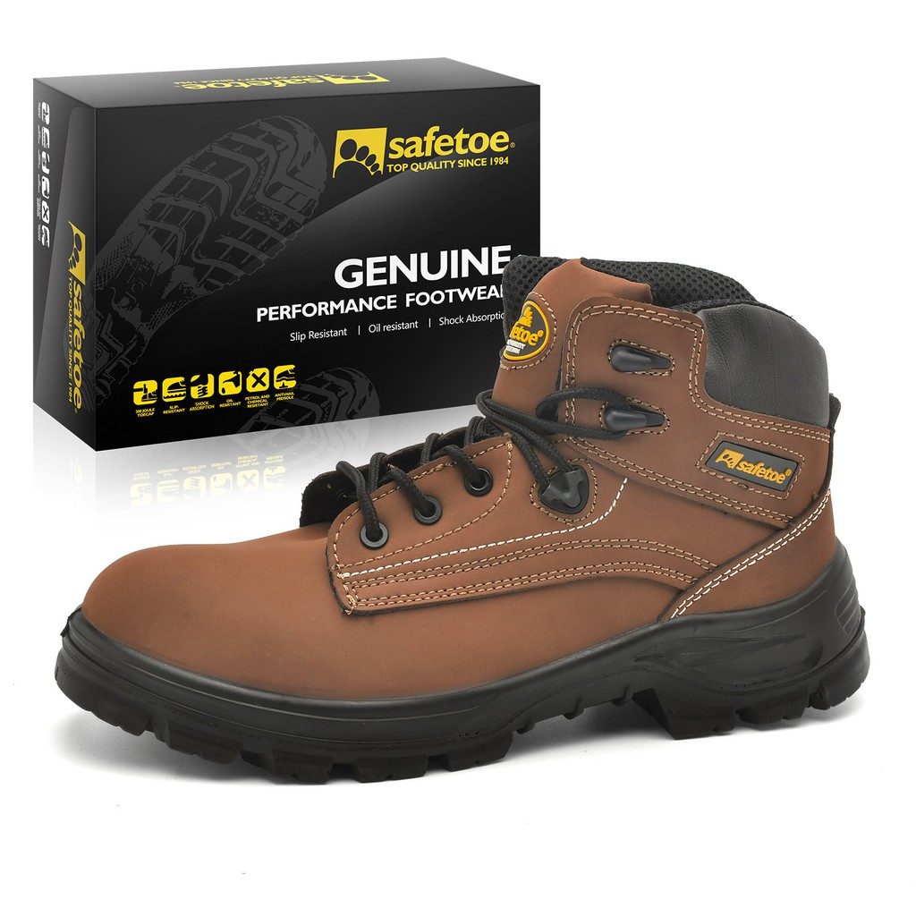4ddb5bcf308c SAFETOE Men Safety Boots Work Shoes - M8356B Black Waterproof Leather Work  Boots