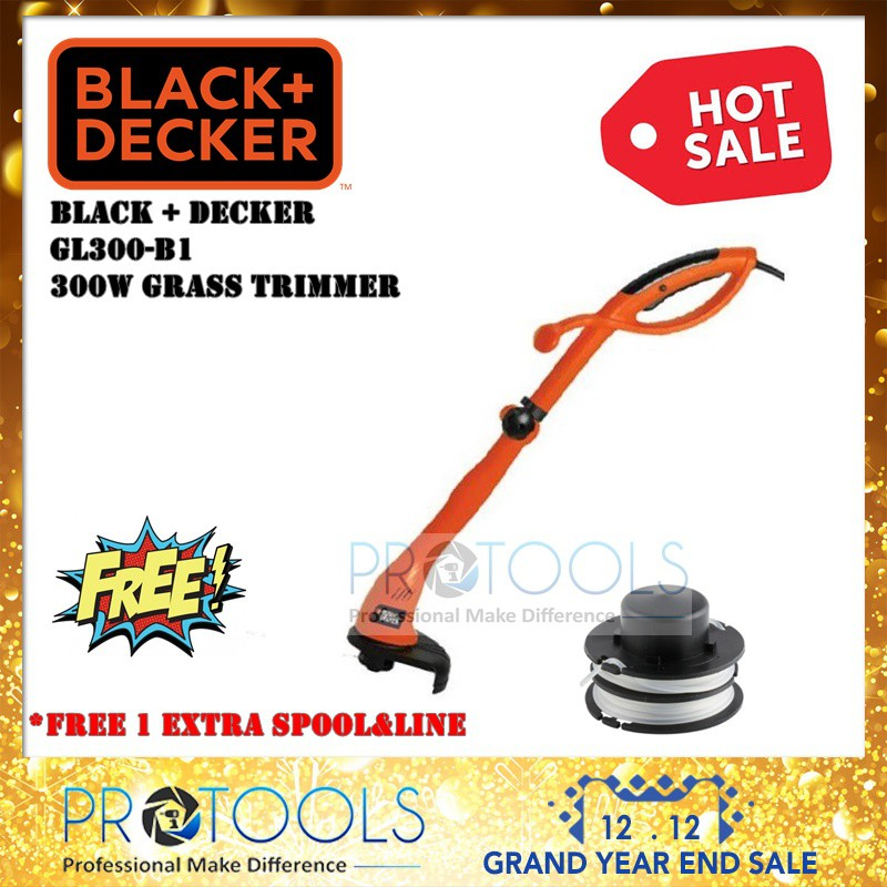 BLACK & DECKER GL300 300W STRING TRIMMER + SPOOL AND LINE - 1 YEAR WARANTY