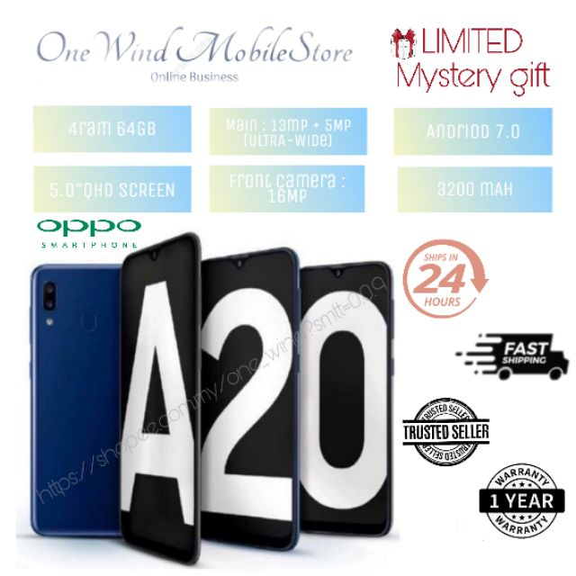 A20 Smartphone 4ram 64gb Oppo 5 0 Qhd Display Within 24hrs Ship Shopee Malaysia