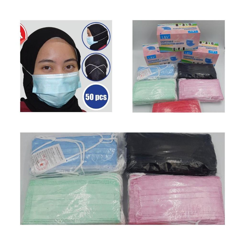 50pcs Headloop Hijab Mask 3PLY Disposable Face Mask Head Loop | Black