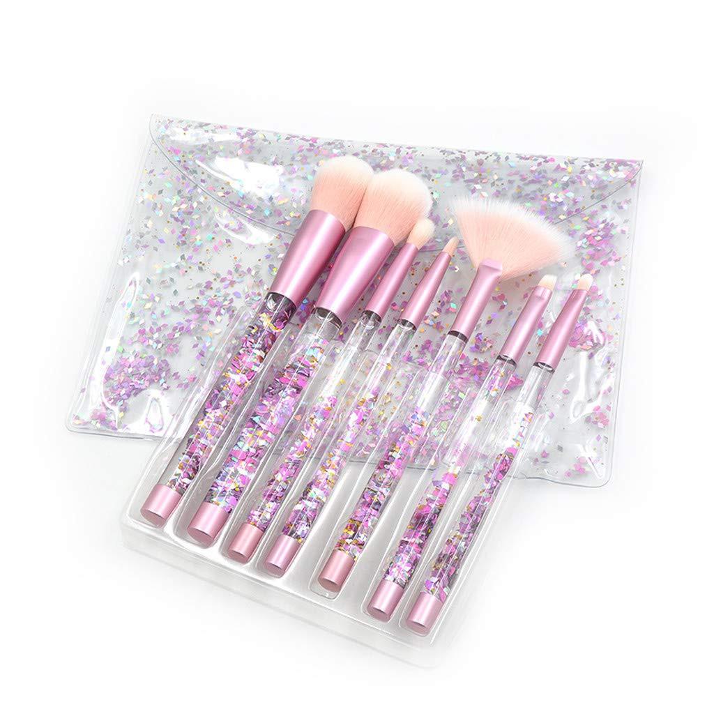 d3034ecd7 7pcs Makeup Brush Set With Shiny Crystal Liquid Quicksand Glitter ...