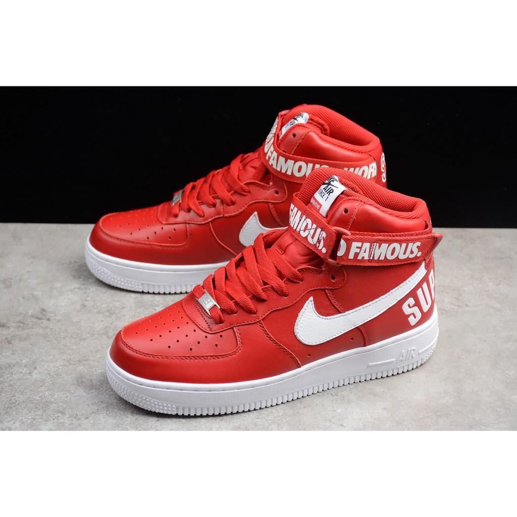 best website e649f 40840 original nike air force 1 supreme all red af1 mid cut sport shoe men women  36-45