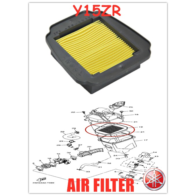100% ORIGINAL HONG LEONG YAMAHA Y15ZR,Y15Z,Y15,LC150(V1,V2) AIR CLEANER FILTER HLY 【2PV-E4450-00】