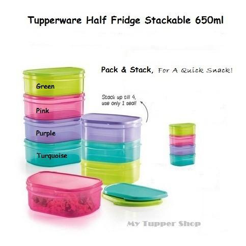 Tupperware Half Fridge Stackable Set (4) 650ml Green/Blue/Pink/Purple