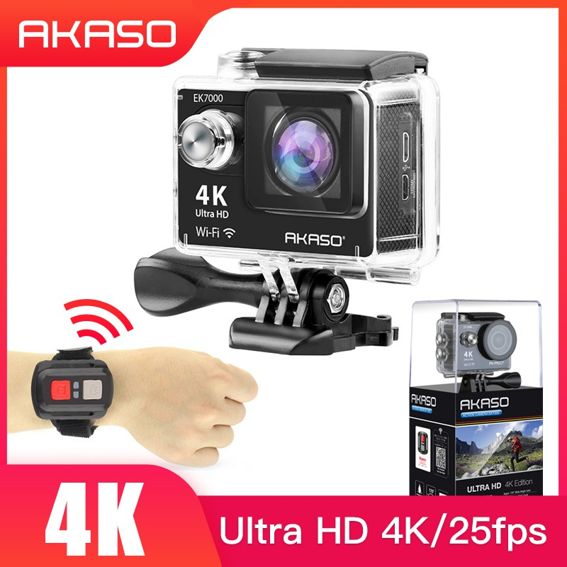 AKASO EK7000 4K 25Fps & 2 7K 30Fps WiFi Sports Action Camera Ultra HD  Waterproof DV Camcorder 12MP 170 Degree Wide Angle