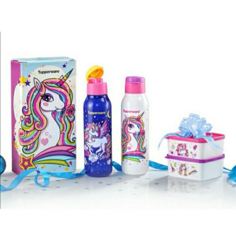 ❤BEST PRICE❤ Tupperware Unicorn Collection 750ml (2) with giftbox + Unicorn Snack Box 400ml (2)