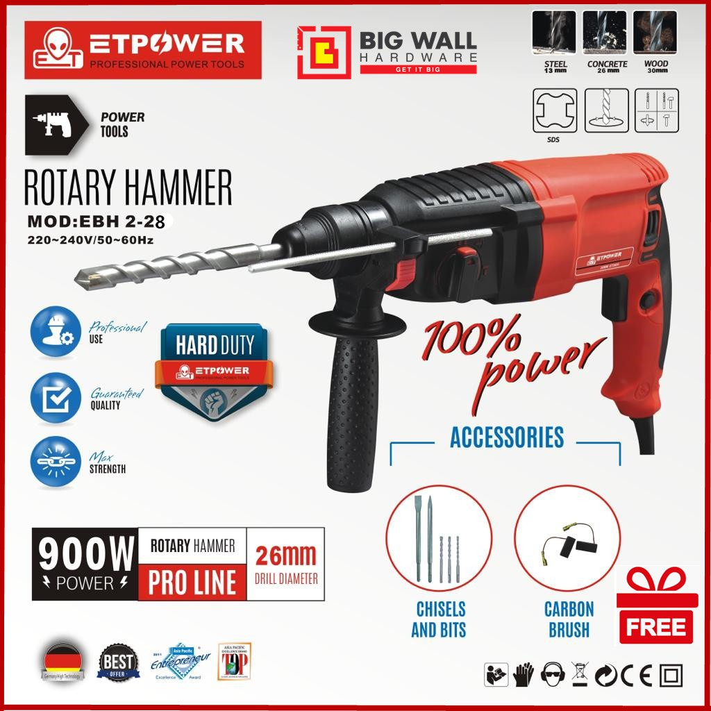 ET Power Professional Power Tools Rotary Hammer MOD:EBH 2-28 900W 3 Mode Rotary Hammer Drill Complete with Accessories