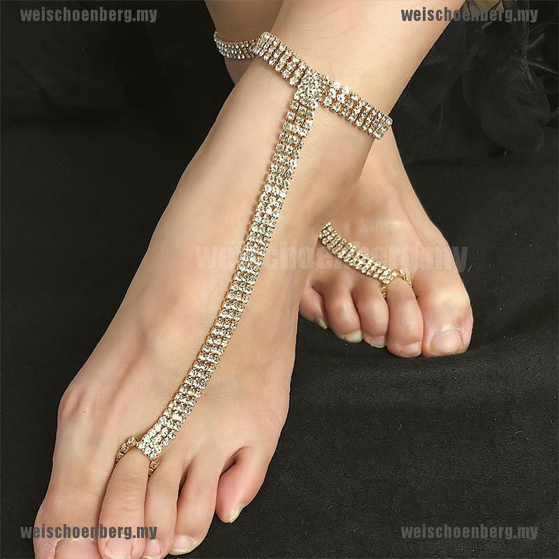Womens Crystal Foot Chain Barefoot Sandals Beach Wedding Jewelry Anklet KI