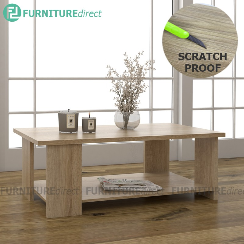 JUDY 25mm melamine waterproof and scratch proof top rectangular coffee table/ meja berlajar