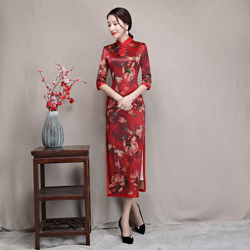 5978a24d6 Chinese Style Dress Ladies' Satin Mini Cheongsam Qipao Size S M L XL XXL |  Shopee Malaysia