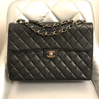 Chanel Matelasse Black Caviar Leather Single Flap Preloved ... 7a5167202630d