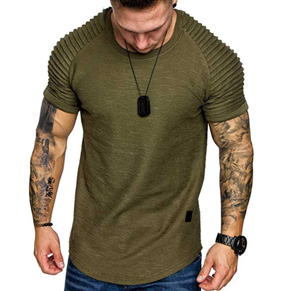 Applique Solid Color Layer Raglan Sleeves T-shirt (Fern Green)