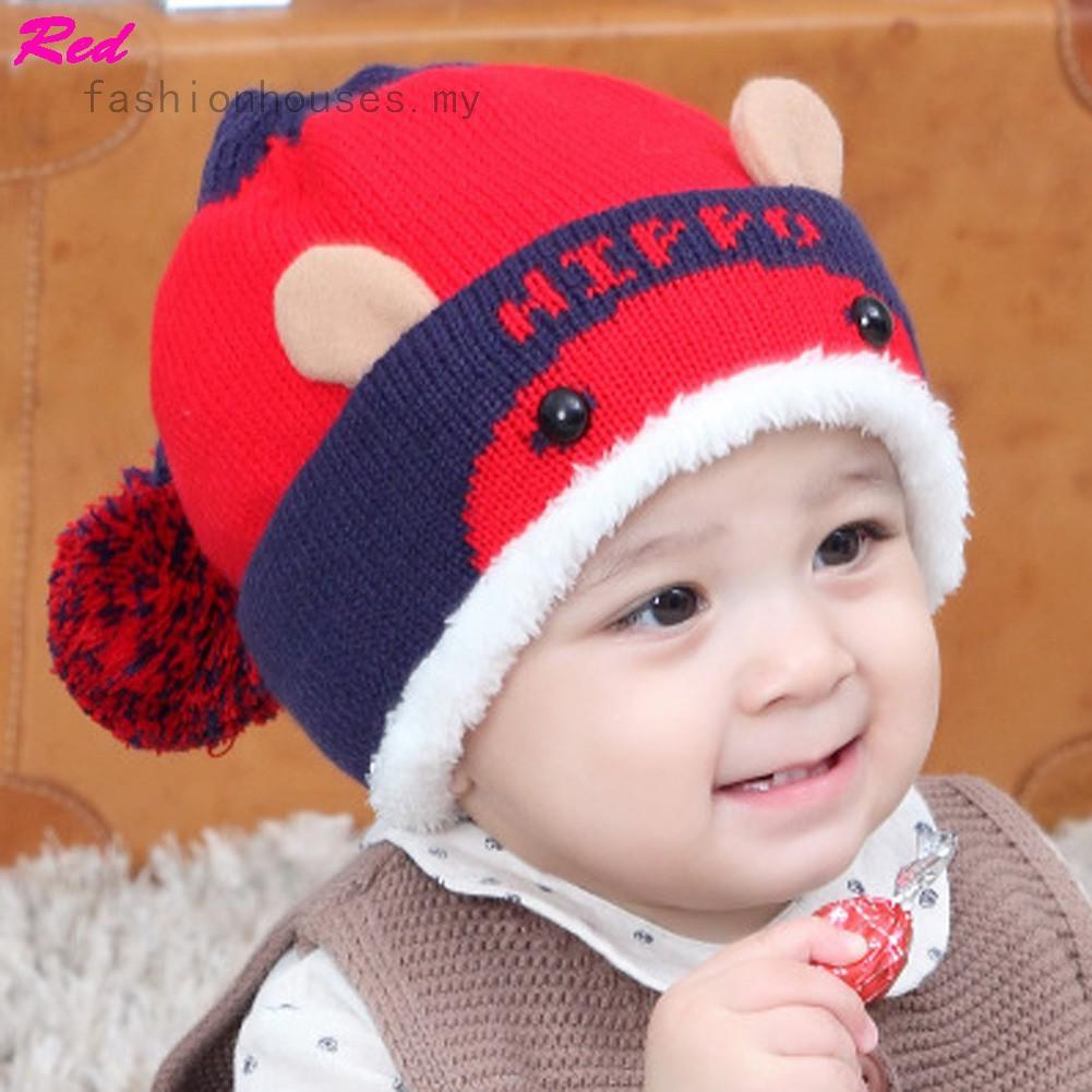 c8fe5cea9 New Cute Cat Ear Children Wool Cap Knitted Hat Autumn and Winter Hat ...