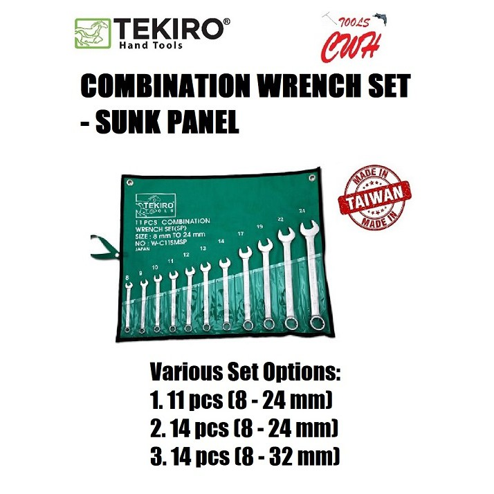 TEKIRO COMBINATION WRENCH SET - SUNK PANEL WR-SE0308 WR-SE0309 WR-SE0310 TEKIRO MADE IN TAIWAN COMBINATION WRENCH SET