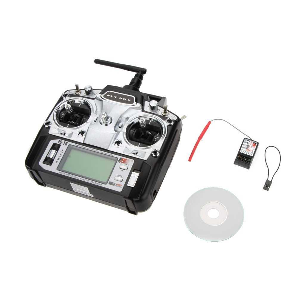 Great Discount Original Flysky FS-T6 High Precision 2.4GHz 6CH Mode 2 Transmitter W/Receiver R6-B for RC Multirotor Qua