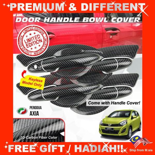[FREE Gift] PERODUA AXIA 2014 - 2020 Matt Black Carbon Fiber Door Handle Inner Bowl Protector Cover Trim (4pcs/Set)