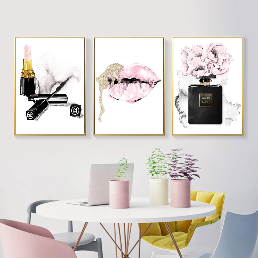 Pink Lips Print Perfume Poster Lipstick Makeup Wall Art Painting Fashion  Posters And Prints Flower Wall Pictures Bedroom Decor
