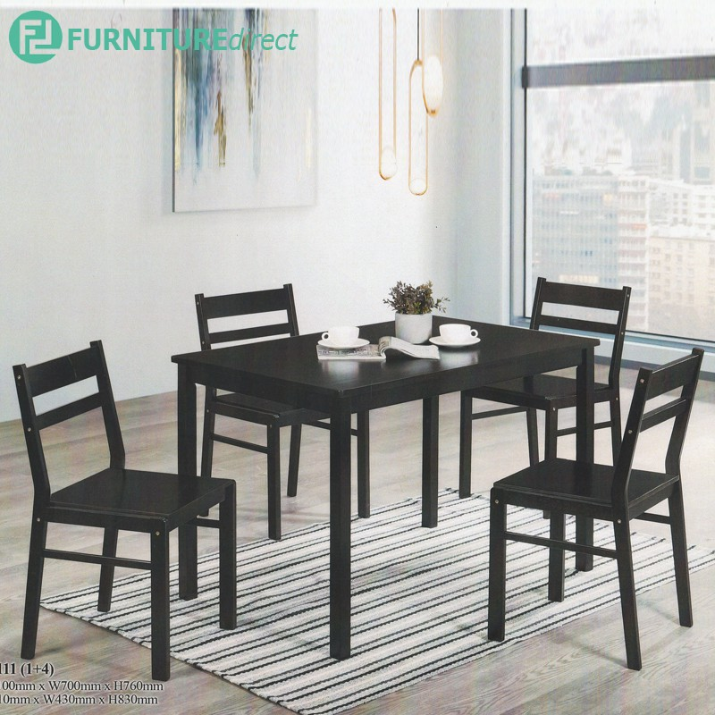 Furniture Direct HIRA 4 and 6 seater solid wood dining set-Black