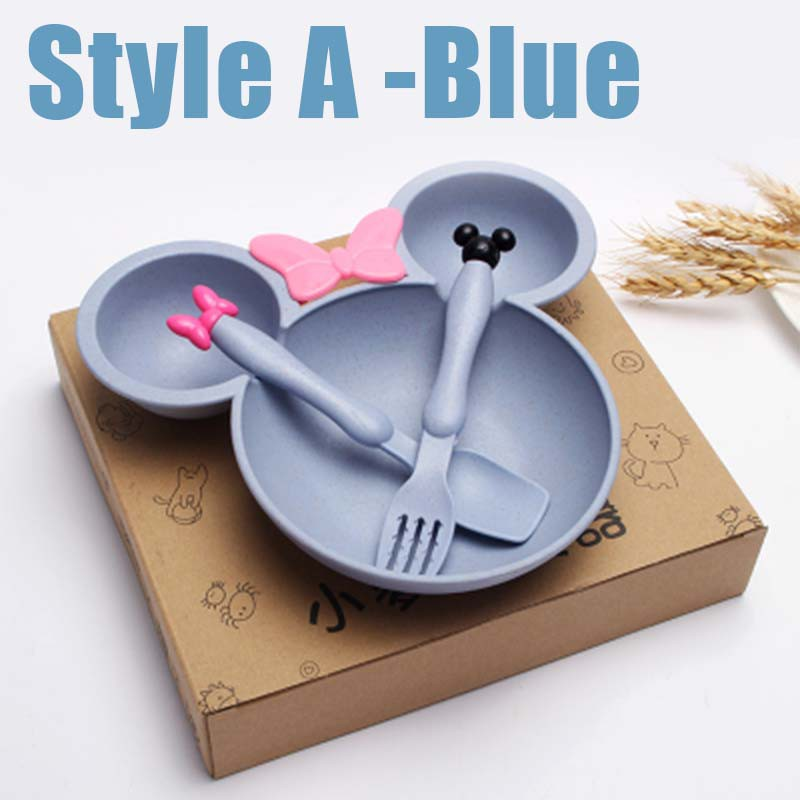 Fork /& Spoon. Blue Bamboo Divider Bowl 3pc
