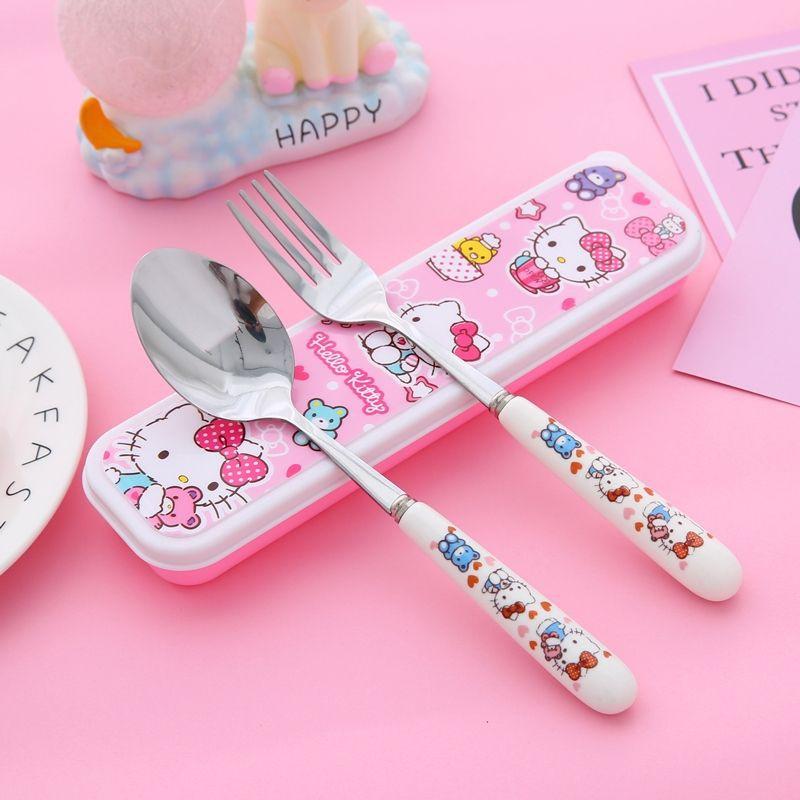 [ READY STOCK ]  High Quality Cute Cutlery Stainless Steel Fork Spoon Set Baby Kid Cartoon Feeding Jualan Murah Kitchen