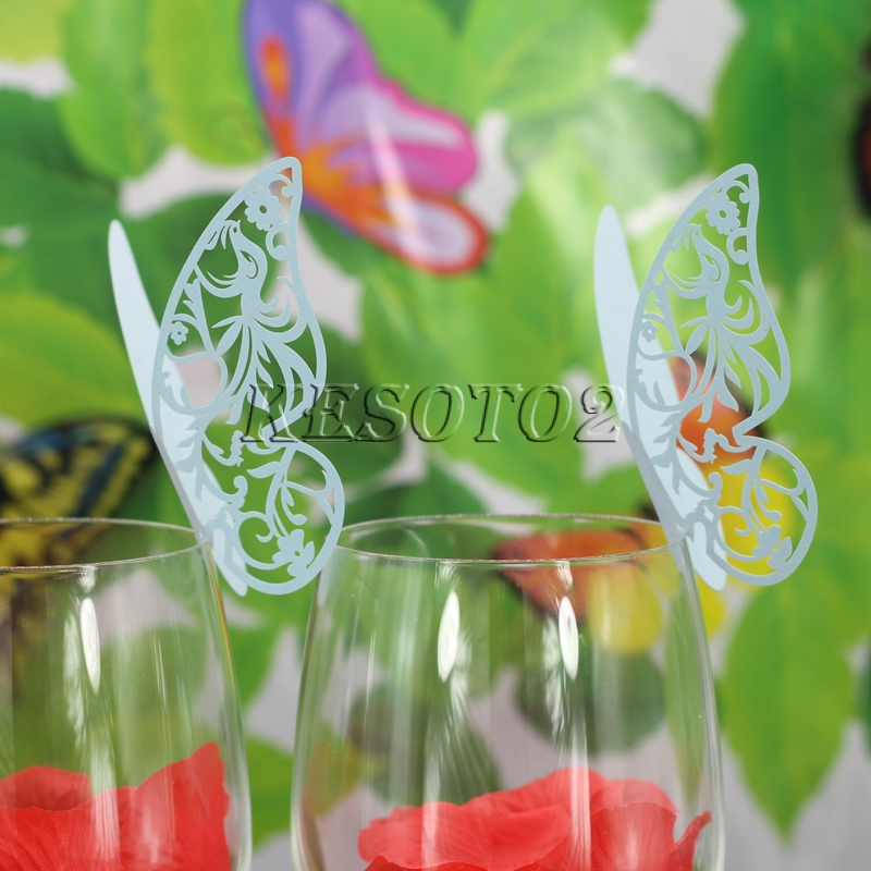 Purple 50pcs Butterfly Wine Glass Name Place Cards Wedding Cup Topper Decor