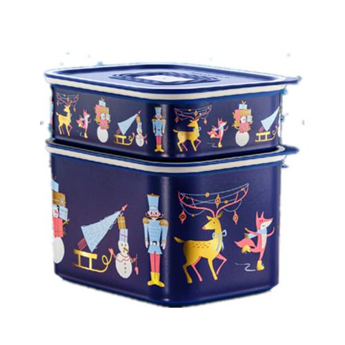 Tupperware Winter Joy Baseline Set (2) 500ml/1.3L Blue