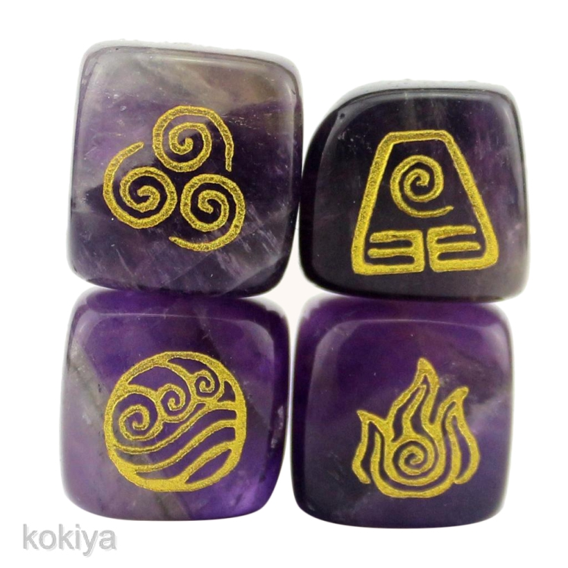 4X Natural Crystal Stone Religious Rune Polished Engraved Home Decor 13-18mm
