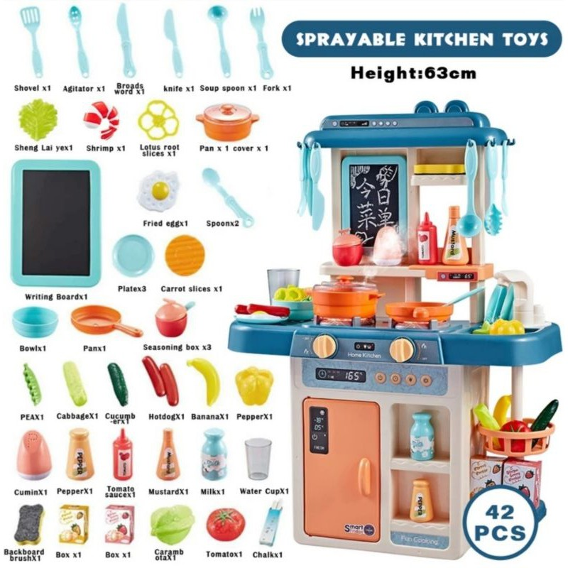 [ READYSTOCK ]  Kitchen Toy Simulation Miniature Kitchen Spray Water Pretend Play Kitchen Cooking Toy Mainan Jualan Murah