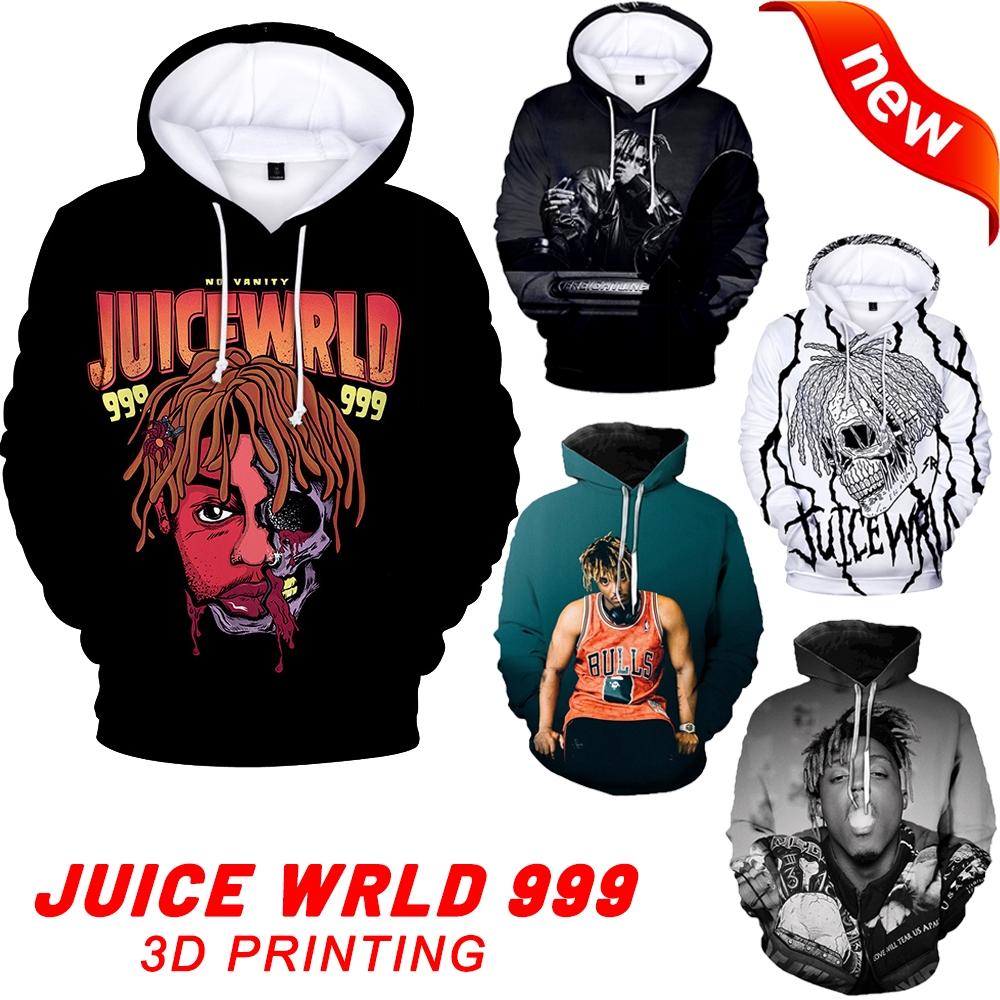 Hoodie Juice WRLD Printed Spring Sweatshirt Casual Loose Youth Sweater Jacket Black 4XL