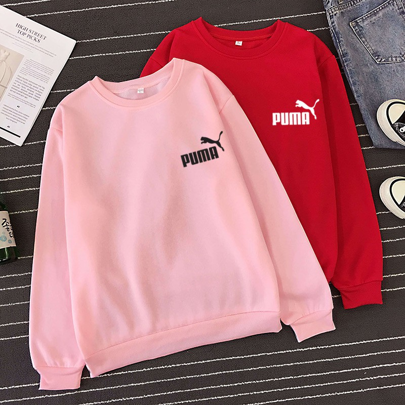 Puma Harajuku Men Women Loose Printed Long Sleeve T Shirt Fashion Couple T Shirts Couple Wear Tops Shopee Malaysia