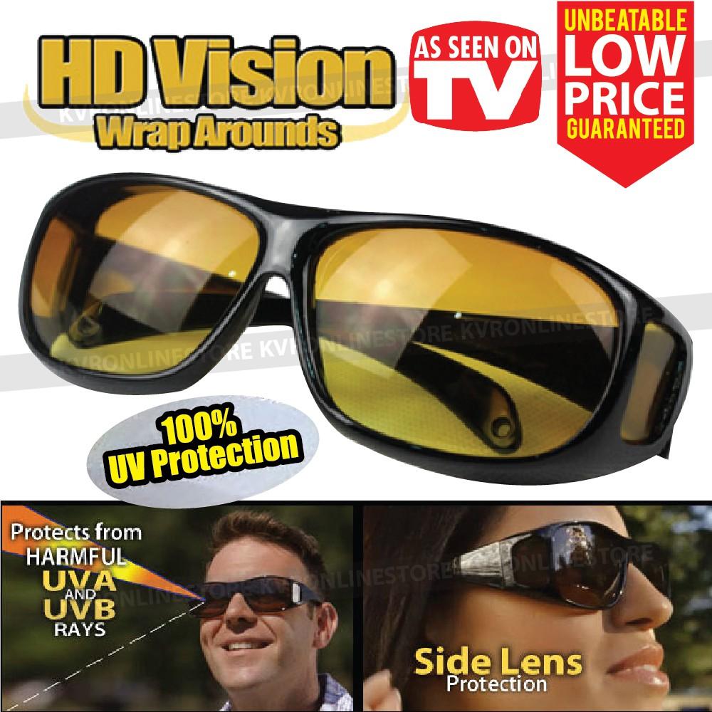 95cc5a08272 HD Vision Driving Anti Glare Wrap Around Sunglasses