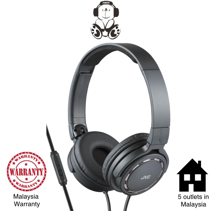 JVC HA-SR525 Lightweight Foldable Remote Mic On-Ear Headphones [Jaben]
