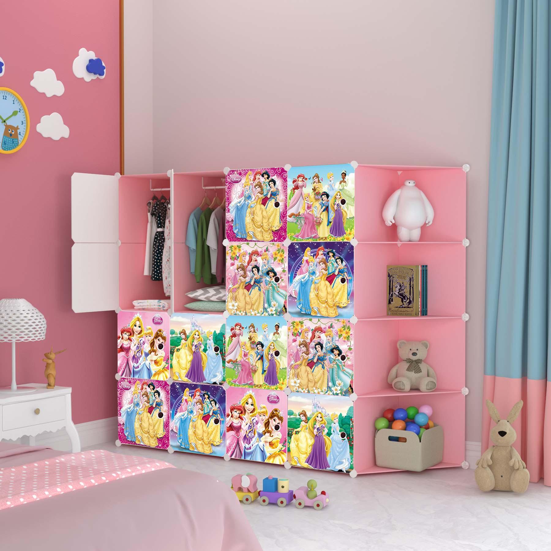 MALAYSIA: PRINCESS PINK 16 cube C DIY Multipurpose Portable Wardrobe Cabinet Clothes Storage Organizer Almari
