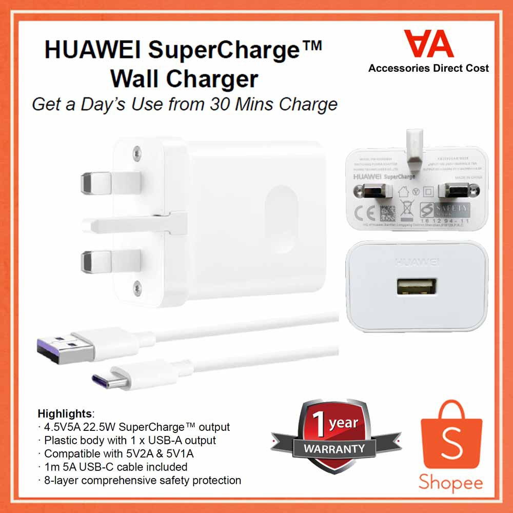 OEM HUAWEI 22.5W SuperCharge Adapter With Type-C Cable
