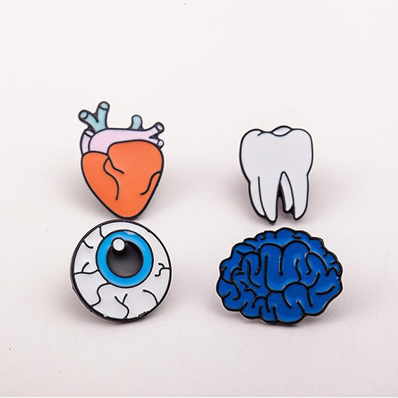 e69358be98 Cartoon Human Body Organ Brooch Pin Accessories Denim Jacket ...